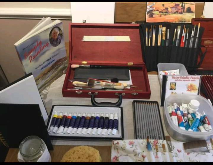 Assorted artist materials