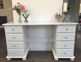 Painted pine dressing table/ dresser/ desk with crystal handles