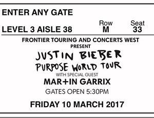 JUSTIN BIEBER PURPOSE WORLD TOUR Benalla Benalla Area Preview