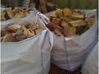 3x1ton builders bulk bag of barn dried seasoned hard wood logs £110