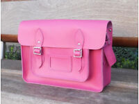"Brand New - Leather Satchel 14"" – Real Leather, Vintage Shoulder School Bag Handmade in Cambridge UK"