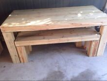 Rustic table and bench seats Outdoor dining Highland Park Gold Coast City Preview