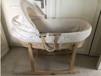 Moses basket, Clair de Lune rocking stand, mattress & covers