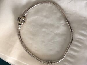 Sterling Silver Pandora charm bracelet with barrel clasp 8.3in/2