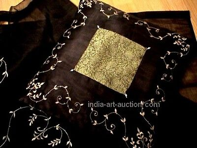 2 Silk Sari Pillows Embroidery Beaded toss throw cushion cover 16x16 Black Goth - Beaded Sari Pillows Cushion Covers