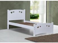 girls comfortable white single bed with love hearts in the frame mattress comes FREE