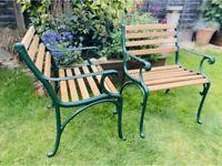 Cast Iron Garden Patio Chairs (Pair) with Oak slats
