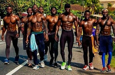 Shirtless Male Muscular Beefcake African Black Hunks Jocks Group PHOTO 4X6 C1695