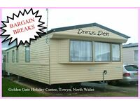 HOLIDAY DISCOUNTS! DREWS DEN: Golden Gate, Towyn, N Wales: 3-bed static caravan for holidays