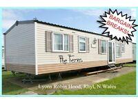 HOLIDAY DISCOUNTS! THE FERNS: Lyons Robin Hood, Rhyl, N.Wales: 3-bed caravan for holidays