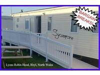 HOLIDAY DISCOUNTS! SYCAMORE: Lyons Robin Hood, Rhyl, N.Wales: 3-bed caravan for holidays