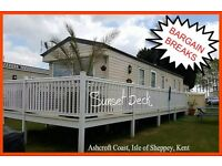 HOLIDAY DISCOUNTS! SUNSET DECK:Ashcroft Coast,Isle of Sheppey,Kent:3-bed static caravan for holidays