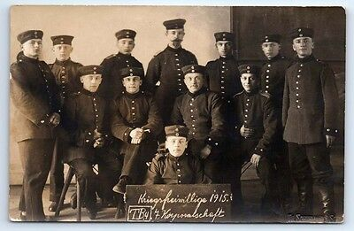 Antique WW1 GERMAN Real Photo RPPC Postcard KRIEGSFREIWILLIGE Volunteer Soldiers