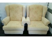 2 WING BACK CHAIRS 2 SEATER SOFA