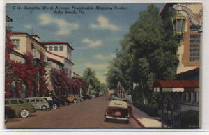 Worth-Avenue-Shopping-Center-Palm-Beach-Florida-Linen-Postcard