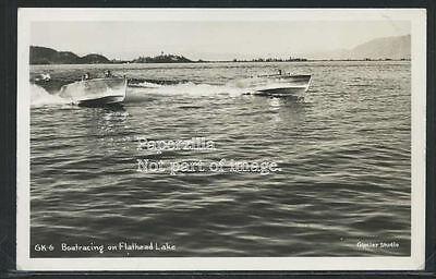 MT Ronan RPPC '52 BOAT RACING on FLATHEAD LAKE Custom Wood Boats Glacier Studio