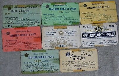 Lot of 8 1930's Fraternal Order of Police Card Robert Cowles Steubenville