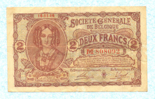 BELGIUM 5 Francs 1916 P87 VF