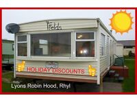 FIELDS: HOLIDAY DISCOUNTS: Lyons Robin Hood, Rhyl: 3-bed (8-berth) static caravan; HOLIDAY LETS ONLY