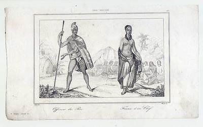 oi, Femme D´un Chef-Tattoo-Ethnologie-Stahlstich 1836 (Stich Tattoos)