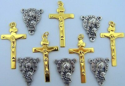 Lot 10 Mary Rosary Center Part Piece Supplies Gold P