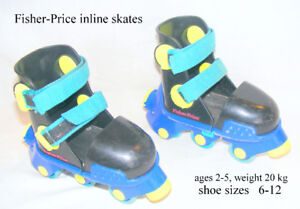 Fisher-Price  inline skates #2440, boy/girl age 2-5,  6-12 shoes