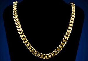 18k Gold Plated Curb Cuban Chain 9MM Wide, 30 Inch NEW!