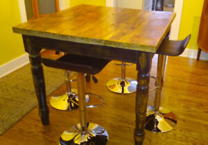 Bar height harvest table with 4 gas lift chrome stools
