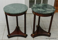 Pair of Marble Top Round End / Accent Tables by Bombay