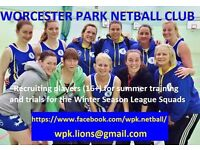 Experienced Netball Players Needed