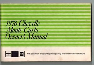 1976 Chevelle & Monte Carlo Owner's Manual Kitchener / Waterloo Kitchener Area image 1