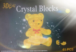 NEW  YELLOW CRYSTAL 3D   BEAR JIGSHAW PUZZLE IQ GADGET