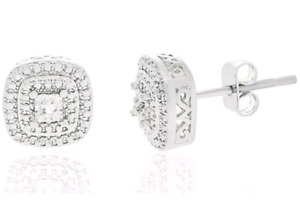 NEW 18K White Gold Plated Square Diamond Accent Stud Earrings