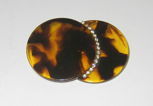 "Bakelite or Plastic Art Deco ""Eclipse"" brooch faux Tortoiseshell"