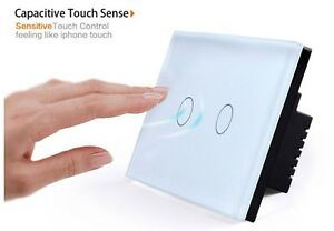 2Gangs Wall Light Touch Switch For US White Crystal Glass Panel+LED Backlight