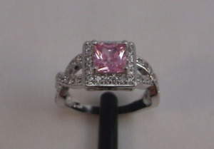 (SALE)) 10K White Gold Filled Pink Sapphire Ring - sz 7