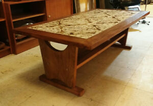 VINTAGE 1970'S BRUTALIST WALNUT & TILE COFFEE TABLE / WOODEN WOO