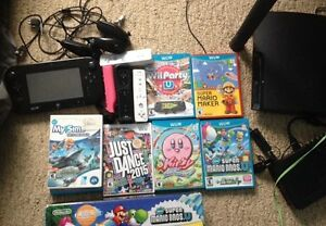 Nintendo wii U with 6 games and 4 controllers