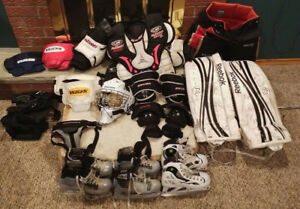 HOCKEY GOALIE PADS BLOCKER SKATES size  1, 2.5, 4.5