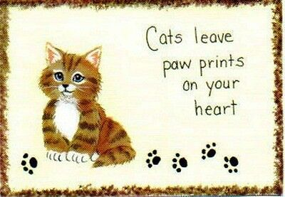 """4x6"""" Funny Wood Cat Phrase Cats Leave Pawprints On Your Heart Country decor Sign"""