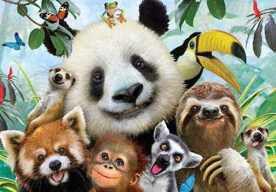 Grande Stampa con Cornice – Divertente Animali Dello Zoo Selfie da Bambini