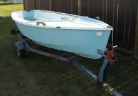 14 ft fiberglass fishing boat and trailer