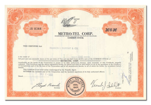 Metro-Tel Corp. Stock Certificate