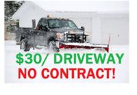 30$ Pickering Ajax driveway Snow removal