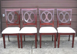 Slightly used 4 Solid Wood Dining Chairs, clean like new, sturdy