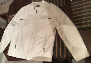 Cream coloured motorcycle jacket