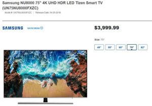 "Samsung NU8000 75"" 4K UHD HDR LED - BRAND NEW"