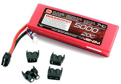 Venom 20C 2S 5000mAh 7.4V Hard Case LiPo Battery with Univer