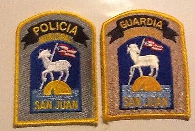 Set Of Puerto Rico San Juan Municipal Police & Guardia Vintage Patches