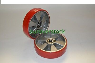 Pair Of Brand New Pallet Jack Steer Wheels Poly Aluminium 8 X 2 Wbearings